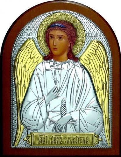 Серебряная с золочением икона Ангела Хранителя (12*16см., «Галерея благолепия», Россия) в дорожном футляре