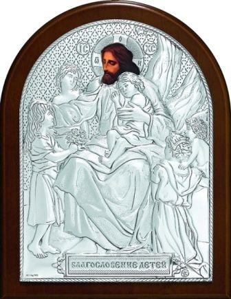 Серебряная икона «Благословение детей» (9*11см., «Галерея благолепия», Россия) в дорожном футляре