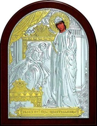 Серебряная с золочением икона Богородицы «Целительницы» (9*11см., «Галерея благолепия», Россия) в дорожном футляре