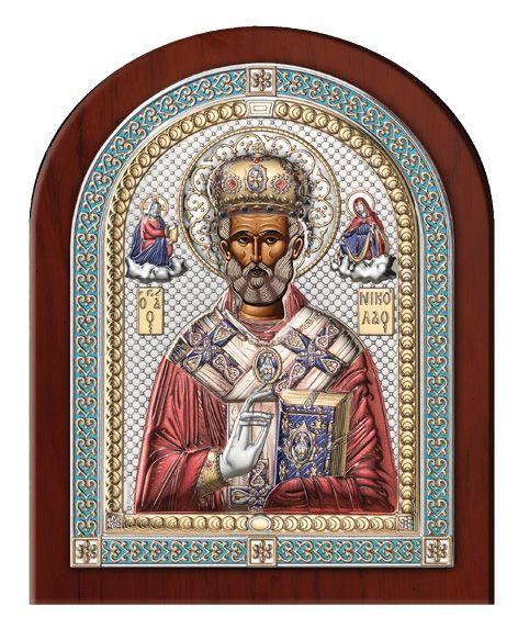 Серебряная икона Святой Николай (18,5см., Valenti & Co, Италия, эксклюзивная рамка)
