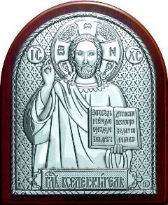 Серебряная икона Иисуса Христа Спасителя (7*8.5см., «Галерея благолепия», Россия) в дорожном футляре