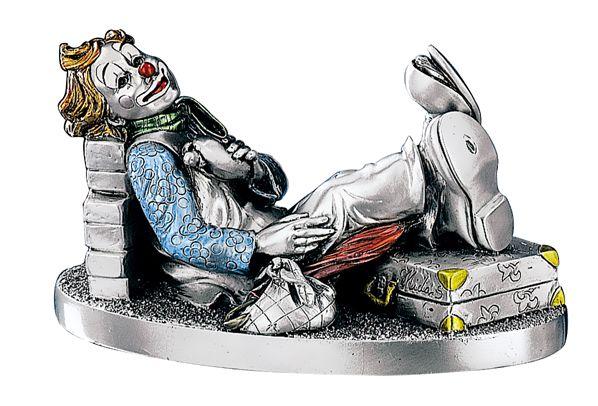 Серебряная коллекционная фигурка клоуна-путешественника (Valenti & Co, Италия)