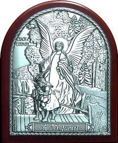 Серебряная икона Ангела Хранителя ребенку (7*8,5см., «Галерея благолепия», Россия) в дорожном футляре
