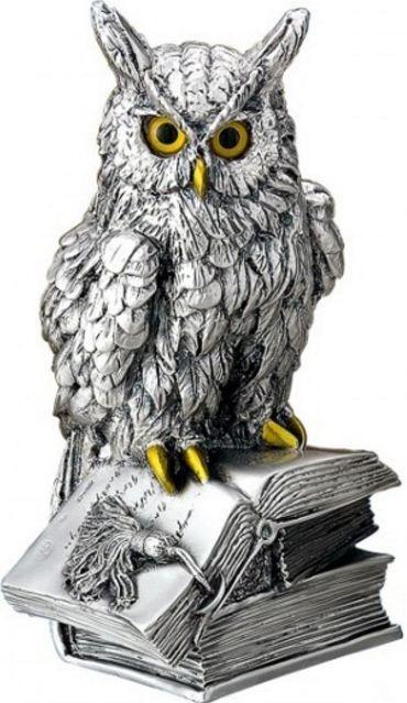 Серебряная статуэтка ученого филина на книге - символ мудрости, знаний, опыта (Valenti & Co, Италия)