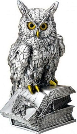 Серебряная статуэтка ученого филина на книге - символ мудрости, знаний, опыта (Valenti & Co, Италия, 20см.)