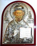 Серебряная икона святителя Николая Чудотворца (Угодника) (19*25см., «Галерея благолепия», Россия) в дорожном футляре
