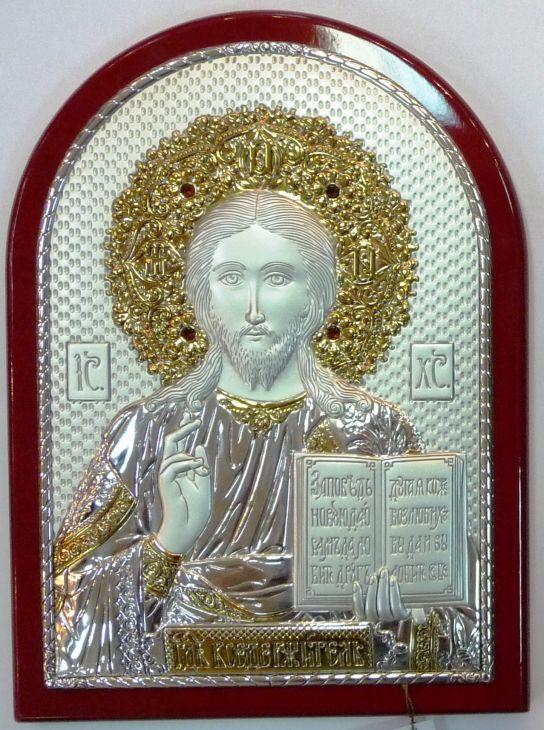 Инкрустированная гранатами серебряная с золочением икона Иисуса Христа Спасителя (14,5*20см., «Галерея благолепия», Россия) в подарочной коробке