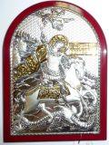 Серебряная с золочением икона Богородицы «Казанской» (12*16см., «Галерея благолепия», Россия) в дорожном футляре