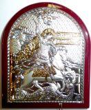 Серебряная с золочением икона Святого Георгия Победоносца (7*8,5, «Галерея благолепия», Россия) в дорожном футляре