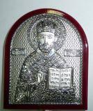 Серебряная икона святителя Николая Чудотворца (Угодника) (7*8.5см., «Галерея благолепия», Россия) в дорожном футляре