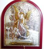 Серебряная с золочением икона Ангела Хранителя ребенка (7*8.5см., «Галерея благолепия», Россия) в дорожном футляре