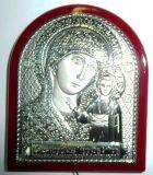 Серебряная икона Богородицы «Казанской» (5*7см., «Галерея благолепия», Россия) в дорожном футляре