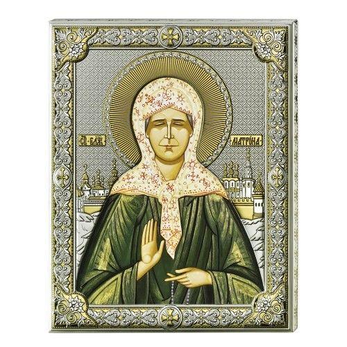 Серебряная икона Святая Матрона (листовое серебро, Valenti & Co, Италия)