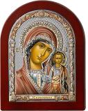 Серебряная икона Богоматерь Казанская (Valenti&Co, Италия, цветной лак, повышенное качество!)