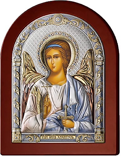 Серебряная икона Ангел Хранитель (Valenti&Co, Италия, цветной лак, повышенное качество!)