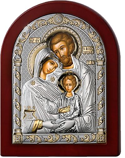 Серебряная икона Святое Семейство  (Valenti&Co, Италия, прозрачный  лак, повышенное качество!)