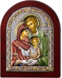Серебряная икона Святое Семейство  (Valenti&Co, Италия,цветной лак, повышенное качество!)