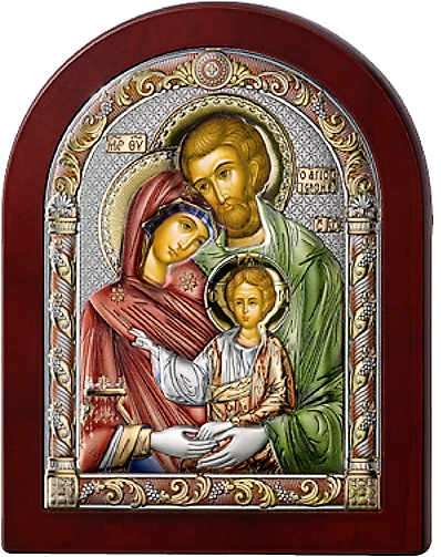 Серебряная икона Святое Семейство  (Valenti&Co, Италия, цветной лак, повышенное качество!)