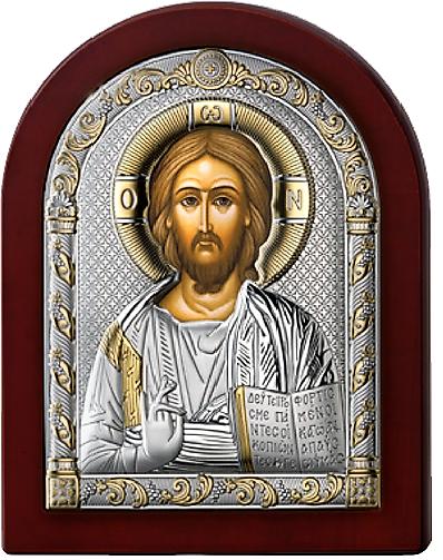 Серебряная икона Иисус Христос Спаситель (Valenti&Co, Италия, прозрачный лак, повышенное качество!)