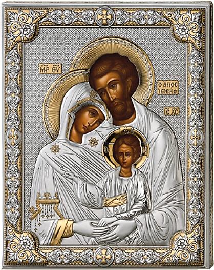 Серебряная икона Святое Семейство (листовое серебро, Valenti & Co, Италия, прозрачный лак, повышенное качество)