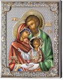 Серебряная икона Святое Семейство (листовое серебро, Valenti & Co, Италия, цветной лак, повышенное качество)