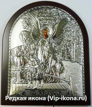 Серебряная с икона Ангела Хранителя ребенку (9*11см., «Галерея благолепия», Россия) в дорожном футляре