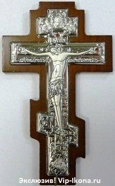 Серебряный православный крест-распятие (7*10см., «Галерея благолепия», Россия) с инкрустацией гранатами в дорожном футляре