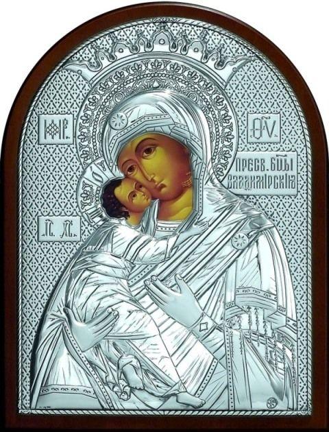 Серебряная икона Богородица «Владимирская» (19*25см., Россия) в дорожном футляре