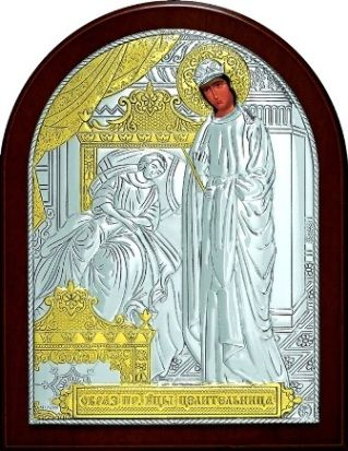 Серебряная с золочением икона Богородицы «Целительницы» (9*11см., Россия)