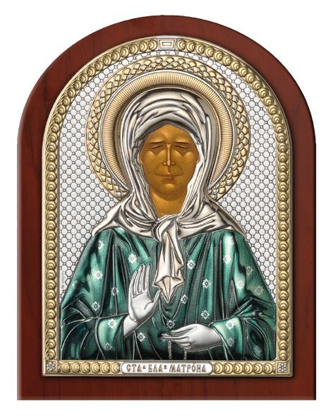 Серебряная икона Святая Матрона (Италия)