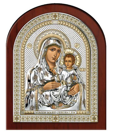 Серебряная икона Божией Матери Иерусалимской (Италия, эксклюзивная рамка)