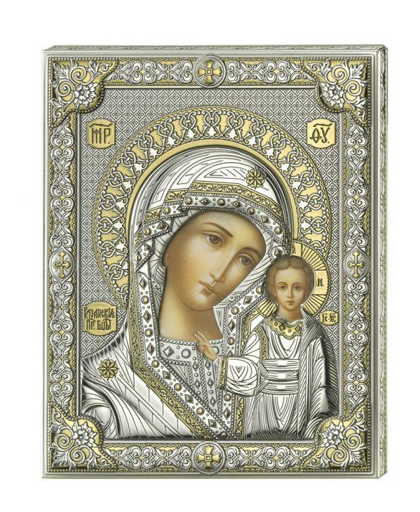 Серебряная икона Божией Матери Казанской (листовое серебро, Valenti & Co, Италия)
