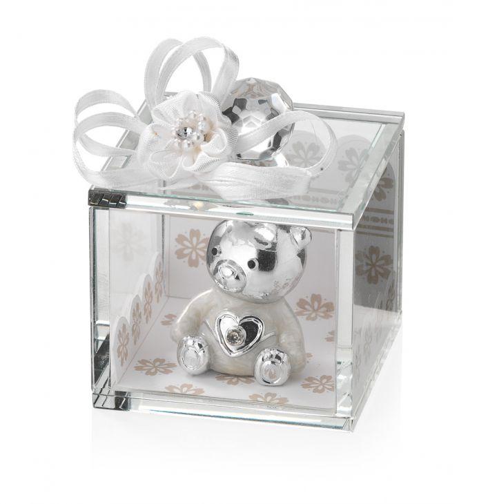 Хрустальная шкатулка с серебряным медвежонком (Valenti & Co, Италия)