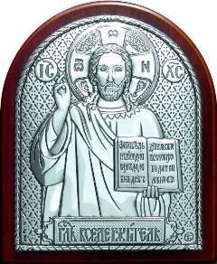 Серебряная икона Иисуса Христа Спасителя (7*8.5см., Россия) в дорожном футляре