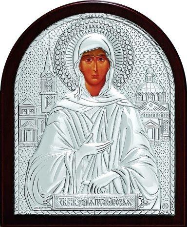 Серебряная икона Святая Блаженная Ксения Петербургская (9*11см., Россия)
