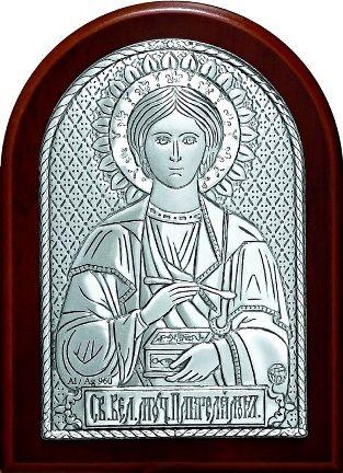 Икона Святого Целителя Великомученика Пантелеймона (9*11см., Россия) в дорожном футляре