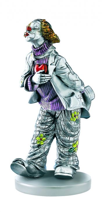 Серебряная коллекционная фигурка влюбленного клоуна (Италия)