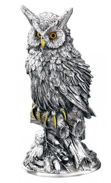 Серебряная статуэтка ученого филина - символ мудрости, знаний, опыта (Италия)