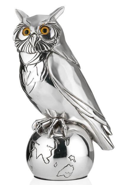 Серебряная коллекционная фигурка ученой совы на глобусе 25см. (Италия) - подарок юристу, адвокату, судье