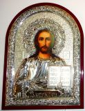 Инкрустированная гранатами серебряная икона Иисуса Христа Спасителя (25*34см., «Галерея благолепия», Россия) в подарочной коробке