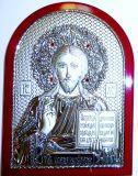 Инкрустированная гранатами серебряная икона Иисуса Христа Спасителя (14,5*20см., «Галерея благолепия», Россия) в подарочной коробке
