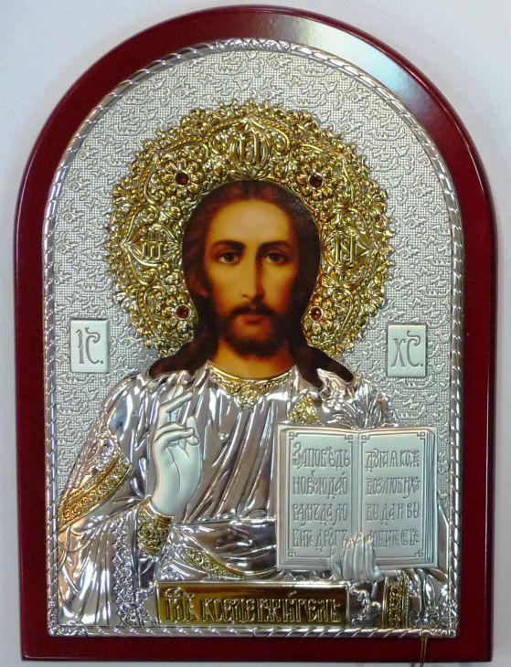 Инкрустированная драгоценными камнями серебряная с золочением икона Иисуса Христа Спасителя (14.5*20см., Россия) в подарочной коробке