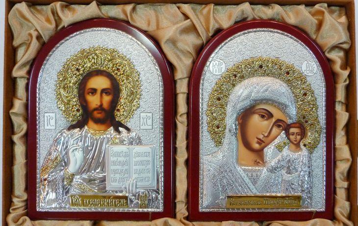 Инкрустированный гранатам подарочный набор (венчальная пара) Христа и Божьей Матери (14,5*20см., «Галерея благолепия», Россия, красное дерево) в VIP-упаковке