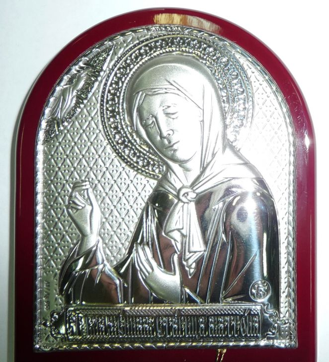 Серебряная икона Святой Блаженной Матроны Московской (7*8.5см., «Галерея благолепия», Россия) в дорожном футляре