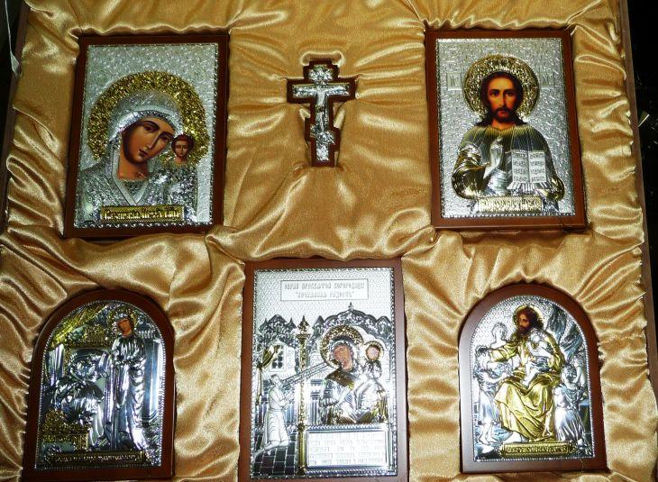 Домашний иконостас из 6-ти икон (коричневое дерево, Россия) в VIP-упаковке