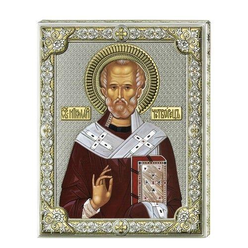 Серебряная икона Святой Николай (листовое серебро, писаные одежды, Valenti & Co, Италия)