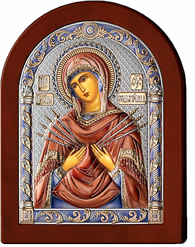 Серебряная икона Богоматерь Семистрельная (Valenti&Co, Италия, цветной лак, повышенное качество!)