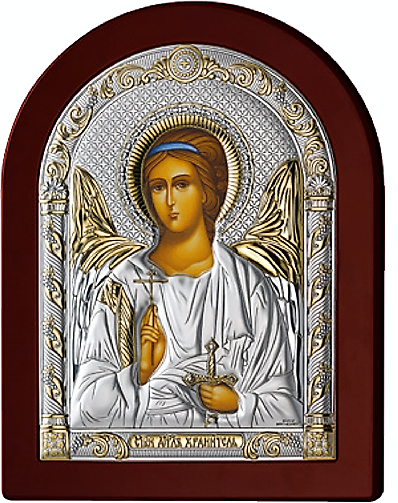 Серебряная икона Ангел Хранитель (Италия, прозрачный лак, повышенное качество!)