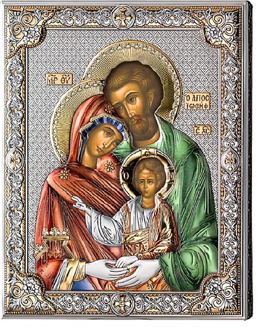 Серебряная икона Святое Семейство (листовое серебро, Италия, цветной лак, повышенное качество)
