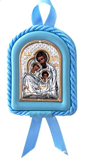 Икона Святое Семейство в колыбельку новорожденному ребенку (Италия, повышенное качество!) купить в подарочной упаковке!